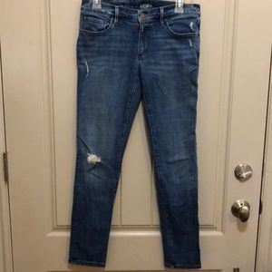 Loft Distressed Relaxed Skinny Jeans (26)